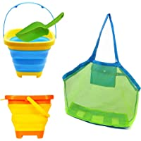 Jtboo Multifunction Foldable Bucket (2L) Portable Collapsible Silica Gel Pail with Extra Large Beach Bags and Sand…