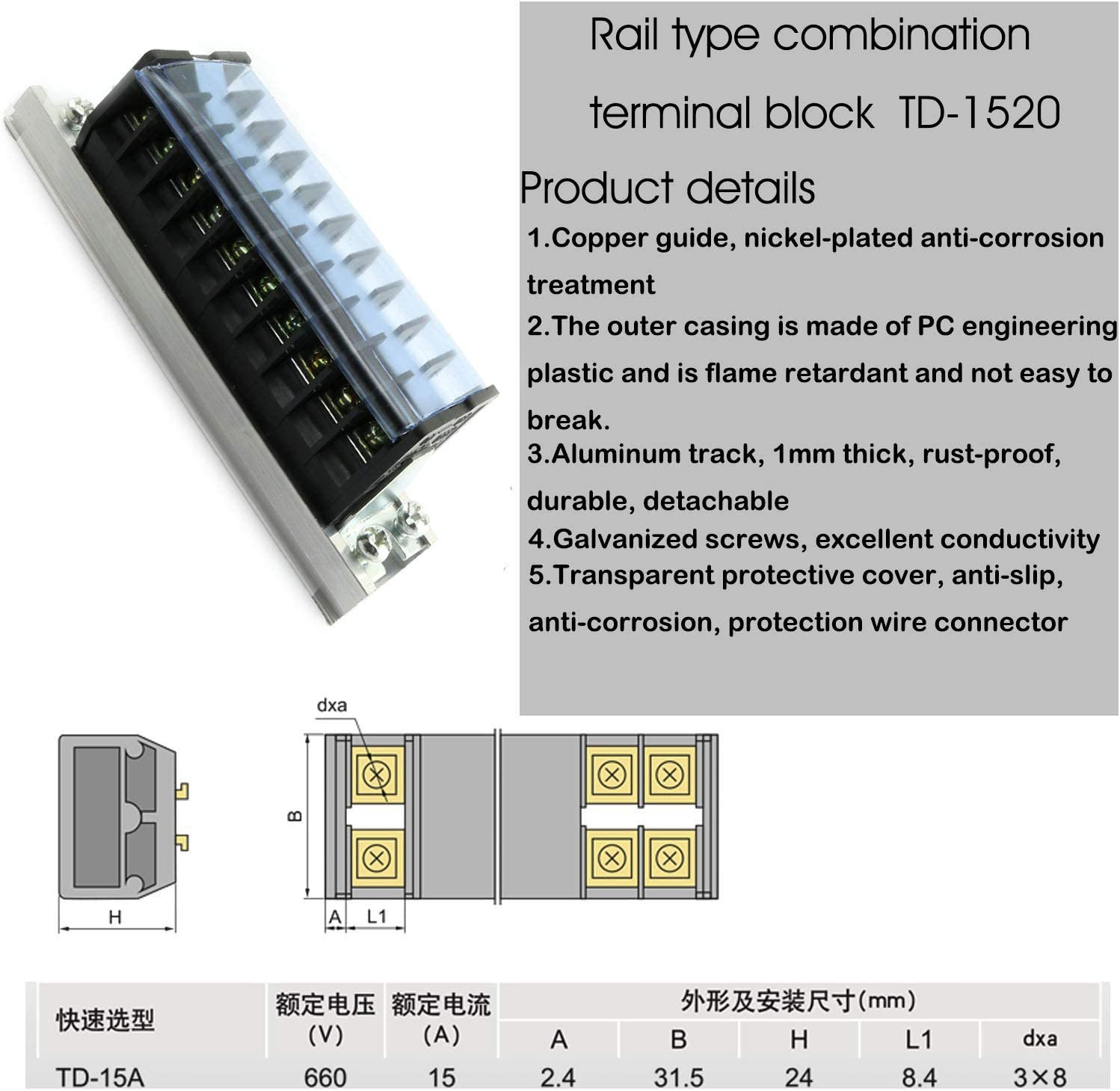 4pcs TD-1510 Terminal Barrier Strips RLECS 2pcs 660V 15A Dual Rows Screw Connector with Cover TD-1520 Terminal Blocks 20 Positions
