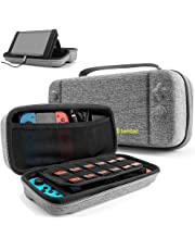 tomtoc Protective Case for Nintendo Switch Hard Shell Travel Storage Carrying Case Cover Box with 24 Game Cartridges and Handle for Nintendo Switch Console and Accessories - Gray