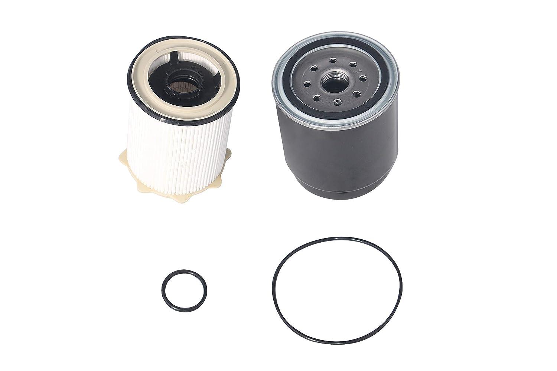 Diesel Fuel Filter Set Water Separator - Fits Ram 2500, 3500, 4500, 5500 6.7L Cummins Engine Years 2013, 2014, 2015, 2016, 2017, 2018 - Replaces 68157291AA, 68197867AA, FS43255, 68065608AA, FS53000