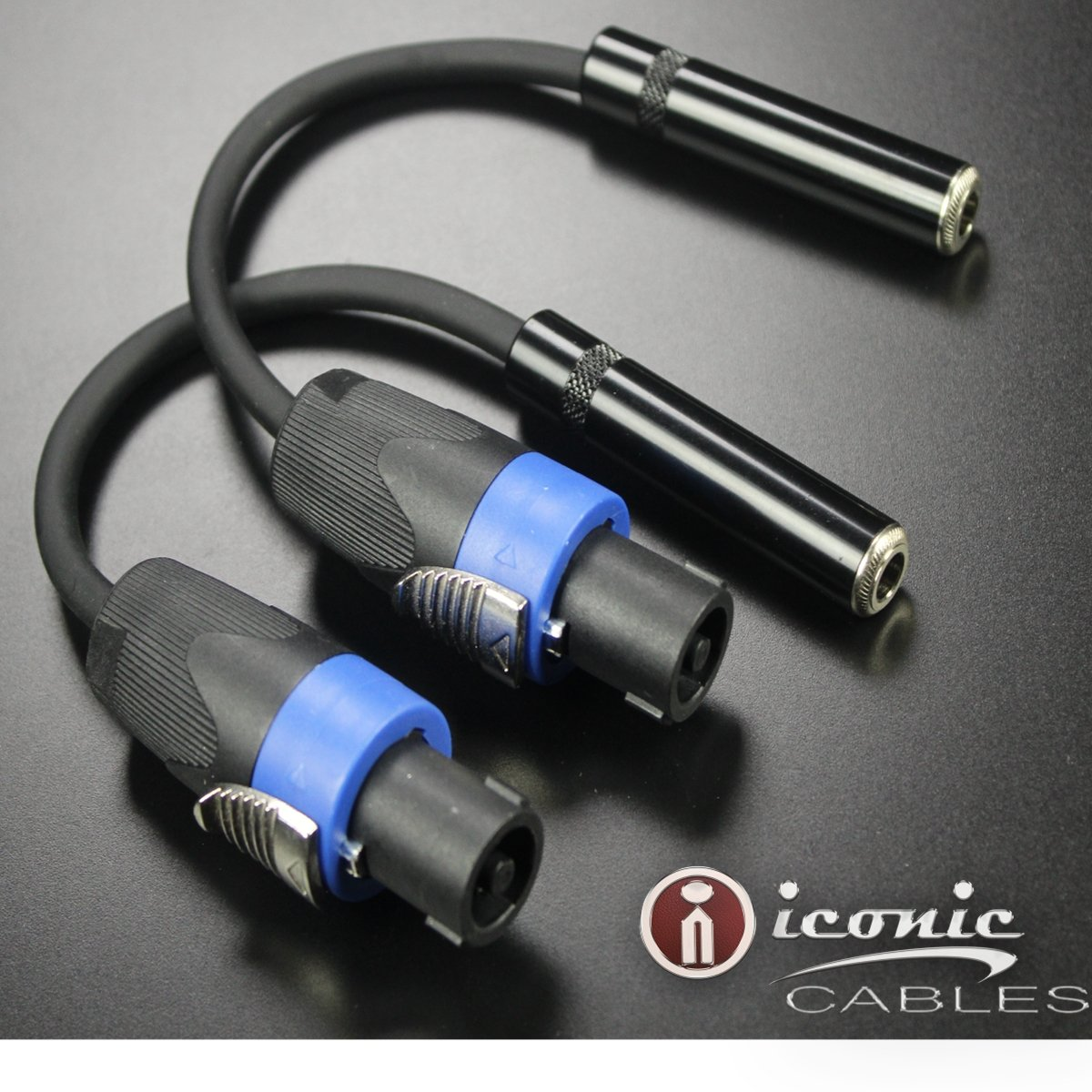2 pack Speakon Male Connector to 1/4'' Female TS Adapter Patch Speaker Cable