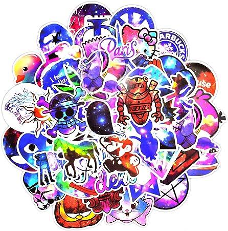 Justyit Ygsat 100 Stücks Weinlese Wasserdicht Vinyl Stickers Graffiti Decals Stickerbomb Für Auto Motorräder Auto Fahrrad Stoßstange Skateboard Snowboard Sternenklare Steigung Bürobedarf Schreibwaren
