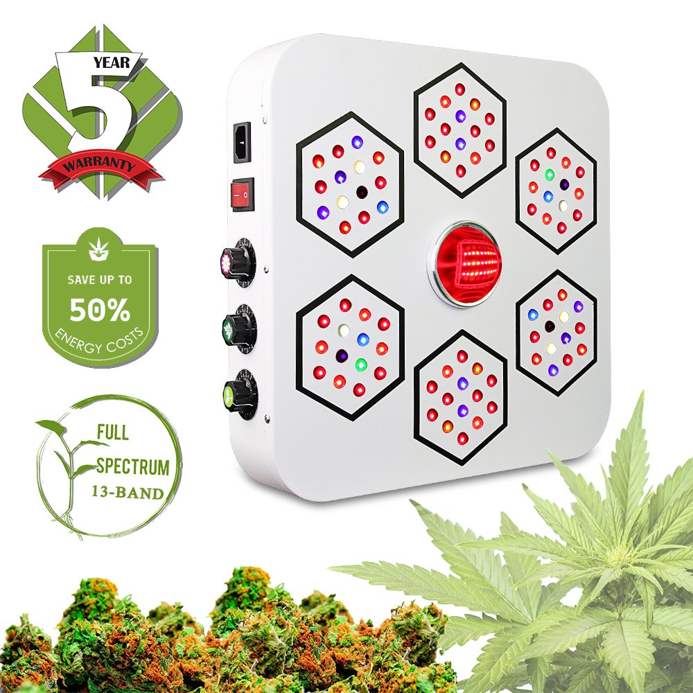 LED Grow Light Full Spectrum for Indoor Plants Veg and Flower Dimmable COB Growing Lamps for Marijuana BloomBeast A520 520w 13 Band with UV IR 3 Dimmers hydroponics lighting(5 Years Warranty)