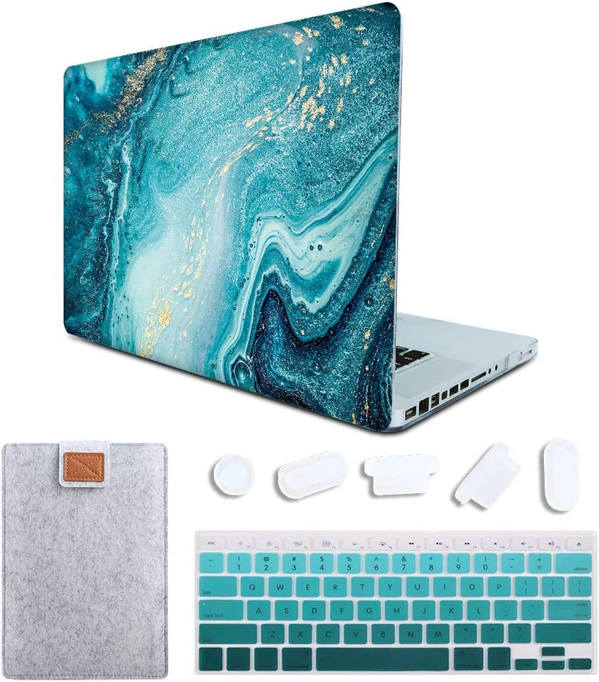 MAITTAO MacBook Pro 15 inch Case Model A1286 with CD-ROM 2010-2012 Released, Plastic Pattern Hard Shell & Laptop Sleeve & Gradient Keyboard Cover 4 in 1 Bundle, Creative Marble 5