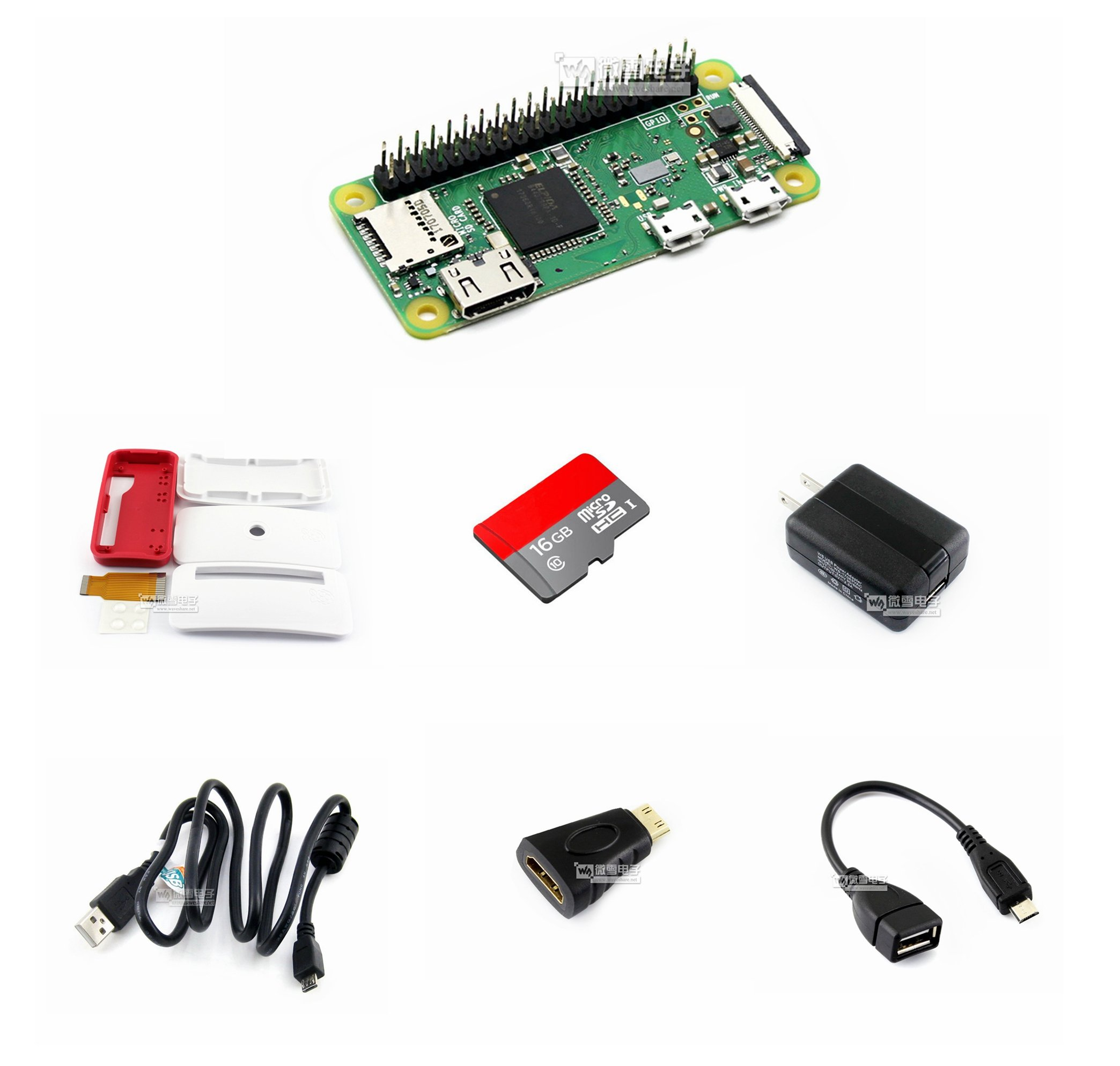 Development Kit Basic Components@Pzsmocn Raspberry Pi Zero WH,with built-in WiFi,Bluetooth,40PIN pre-soldered GPIO Headers.16GB Micro SD Card,Power Adapter,Official Case,keep your Pi Zero clean safe. by Pzsmocn