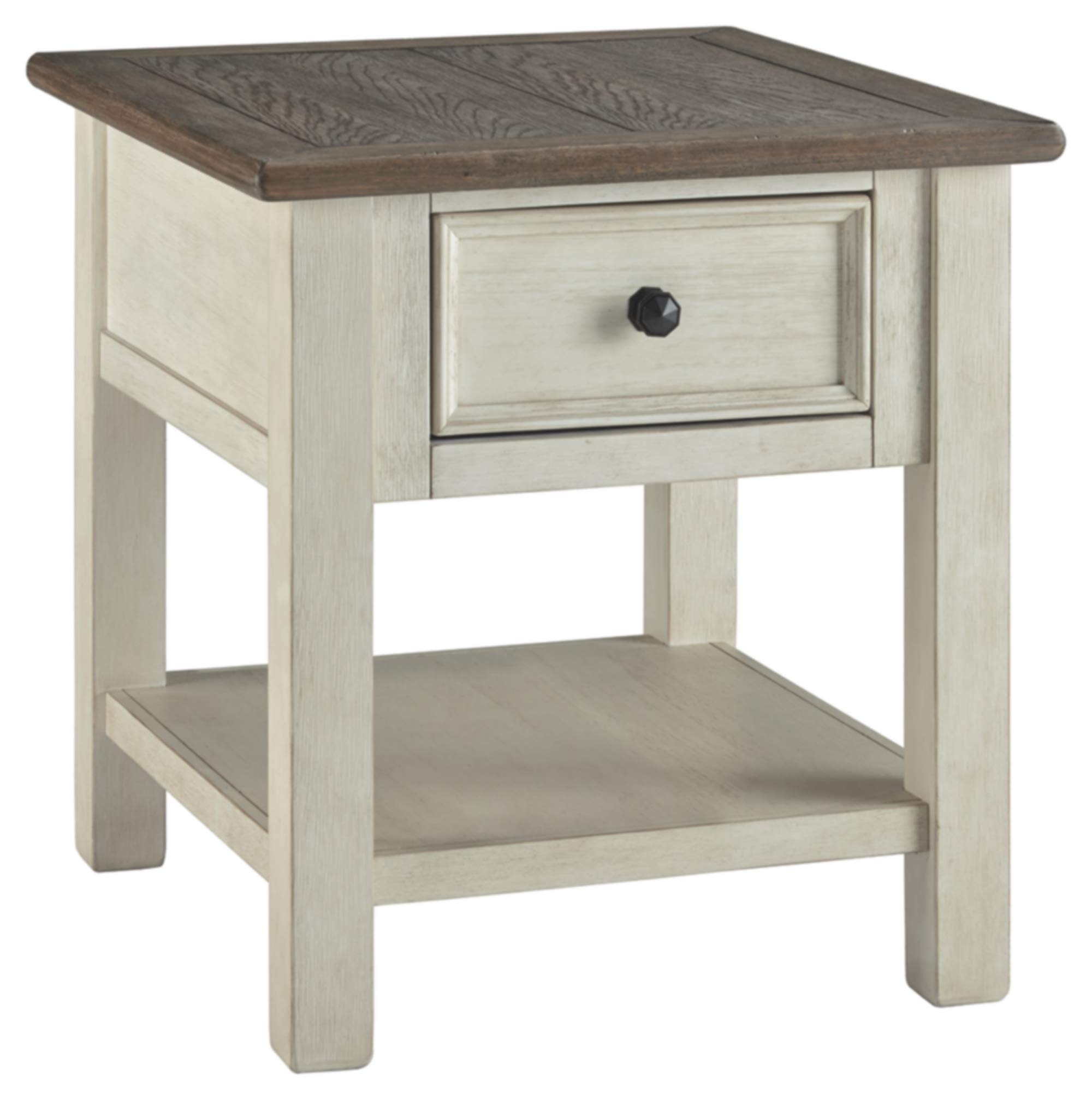 "Ashley Furniture Signature Design - Bolanburg Rectangularside Table, Two-Tone - FARMHOUSE END TABLE: Quaint, but never boring, this table's distressed finish puts the ""farm"" in farmhouse. The compact, chic design makes it handy for storage in an entryway or living room HANDSOMELY CRAFTED: Made of veneers, wood and engineered wood. Designed with a two-tone finish, plank-style tabletop and smooth-gliding drawer TWO-TONE DESIGN: The casual-cool, plank-style top adds distinctive charm to your decor that masters form and function. Set with a plant or lamp for extra pizzazz in your space - living-room-furniture, living-room, end-tables - 71nv0zKiTwL -"