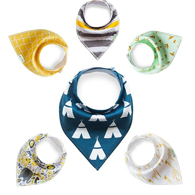 Baby Bandana Drool Bibs for Boys and Girls | 6 pack + 3 Washcloths