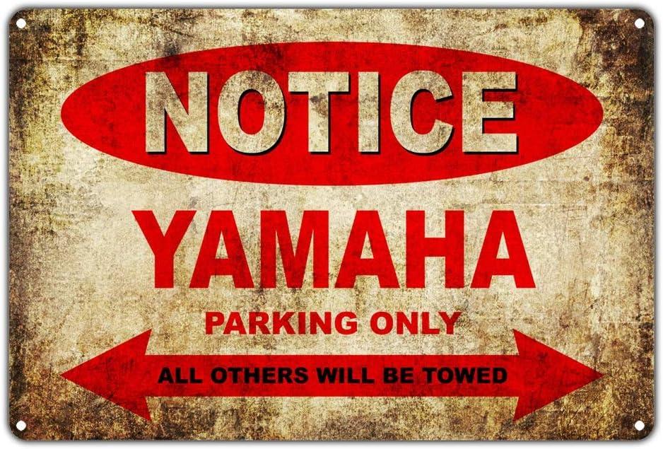 d/écoration murale bureau JOHUA Affiche en m/étal avec inscription /« Notice Yamaha Motorcycles Parking Only /» caf/é maison Pour garage Style vintage