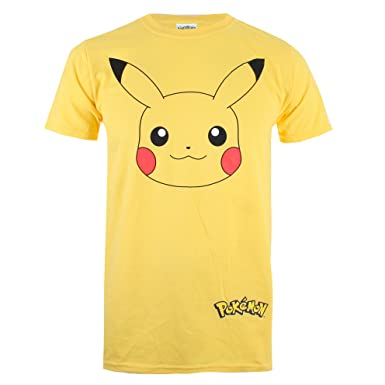 006c09d7a Pokemon Men's Pikachu Face T-Shirt, Yellow, Large: Amazon.co.uk ...