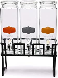 Circleware Triple Chalkboard Beverage Dispensers with Metal Stand & Spigot, Fun Party Glassware for Water, Iced Tea, Punch, Cold Drinks, 3-80 oz Mason Jars, Copper-Gold-Silver Chalk Panel