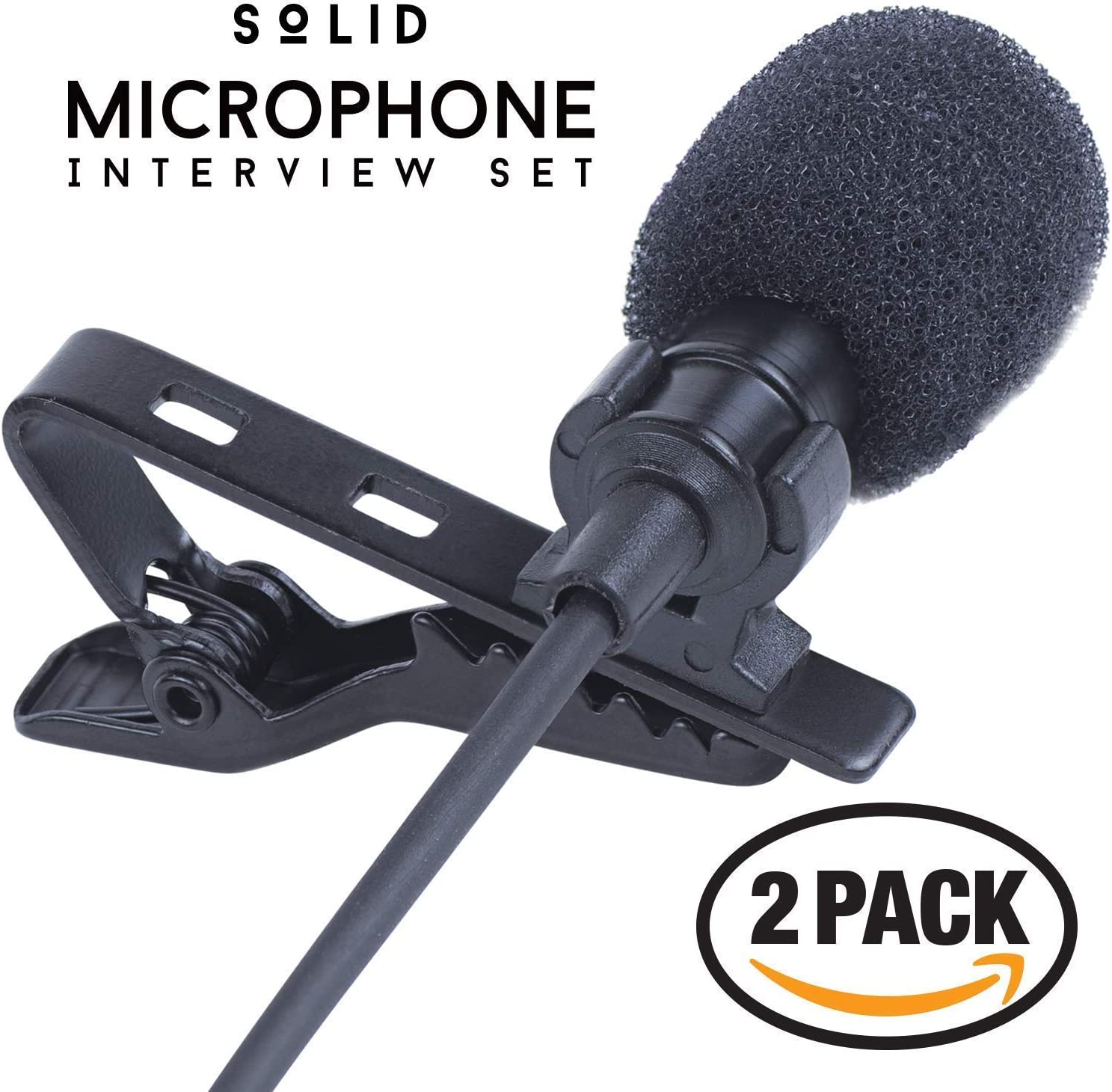 SoLID (TM) Lavalier Lapel Microphone 2 Pack Complete Set Omnidirectional Mic for Desktop PC Computer, Mac, Smartphone, iPhone, GoPro, DSLR, Camcorder for Podcast, YouTube, Vlogging, and DJs: Musical Instruments
