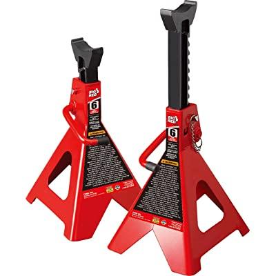 BIG RED T46002A Torin Steel Jack Stands: Double Locking, 6 Ton (12,000 lb) Capacity, 1 Pair: Automotive