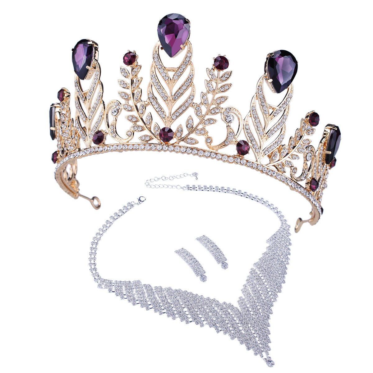 Santfe Elgant Purple Crystal Stone Leaf Style Wedding Party Headband Hair Band Tiara Crown, Come with Earrings or Necklace (Style 10)