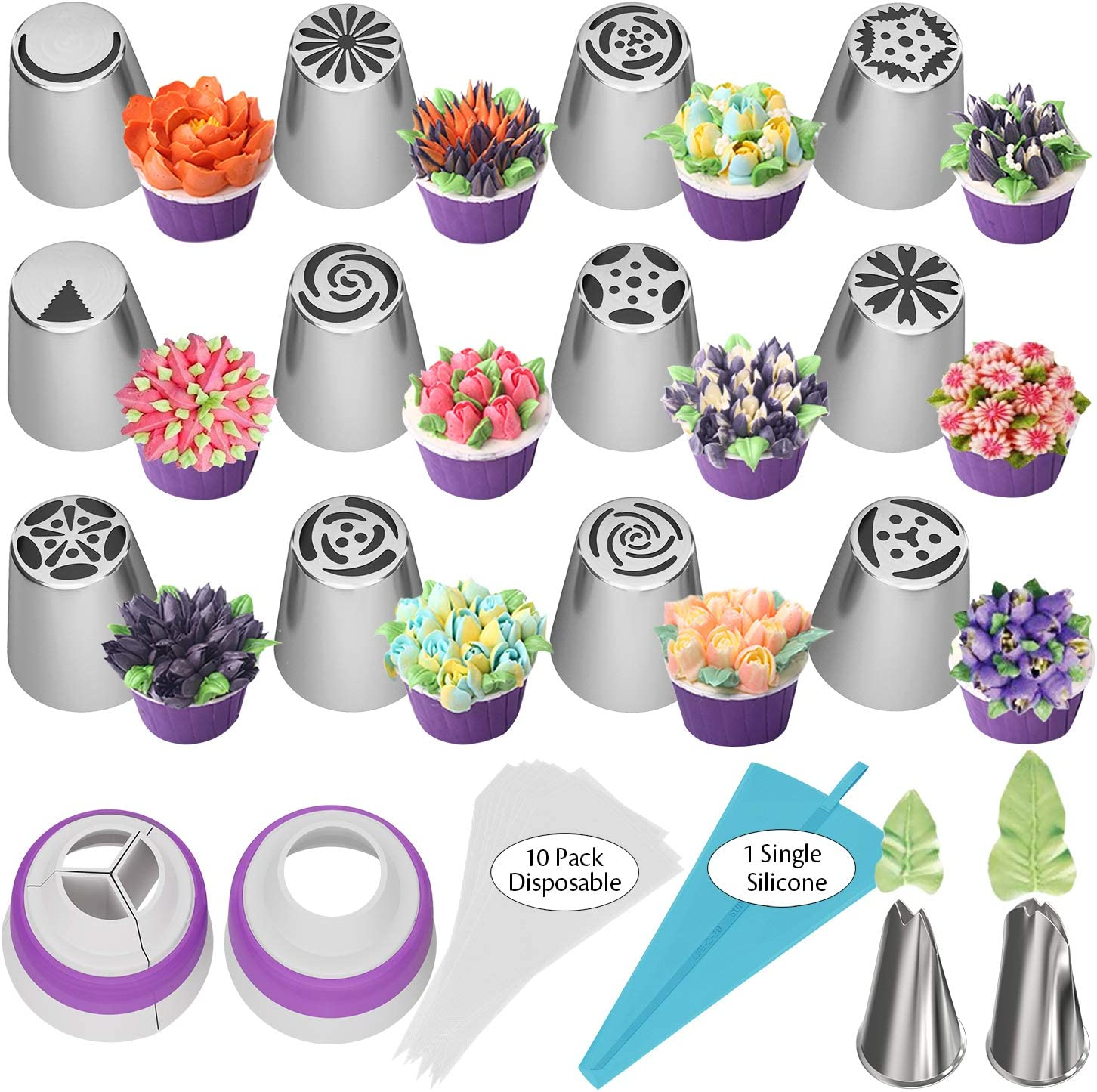 Russian Piping Tips 27pcs Baking Supplies Set Cake Decorating Tips for Cupcake Cookies Birthday Party, 12 Icing Tips 2 Leaf Piping Tips 2 Couplers 10 Pastry Baking Bags
