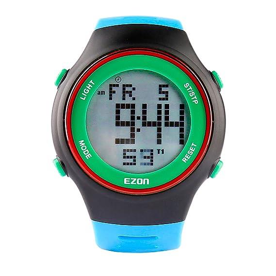 EZON L008B12 Relojes digitales de los hombres con alarma Cronómetro Cuenta regresiva 50 años Calendario Reloj