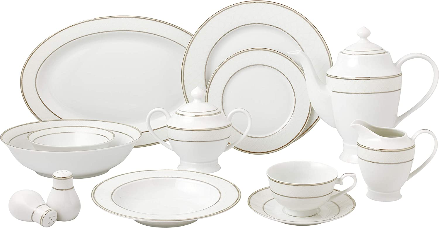 Lorren Home Trends Cosmo-57 Dinnerware Set for Entertaining, One Size, Silver