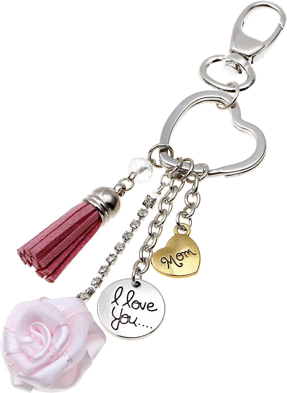 Deesos Llavero Regalo del día de madre Amo el corazón de mamá Llavero pendiente de rosa El mejor regalo para el cumpleaños de mamá