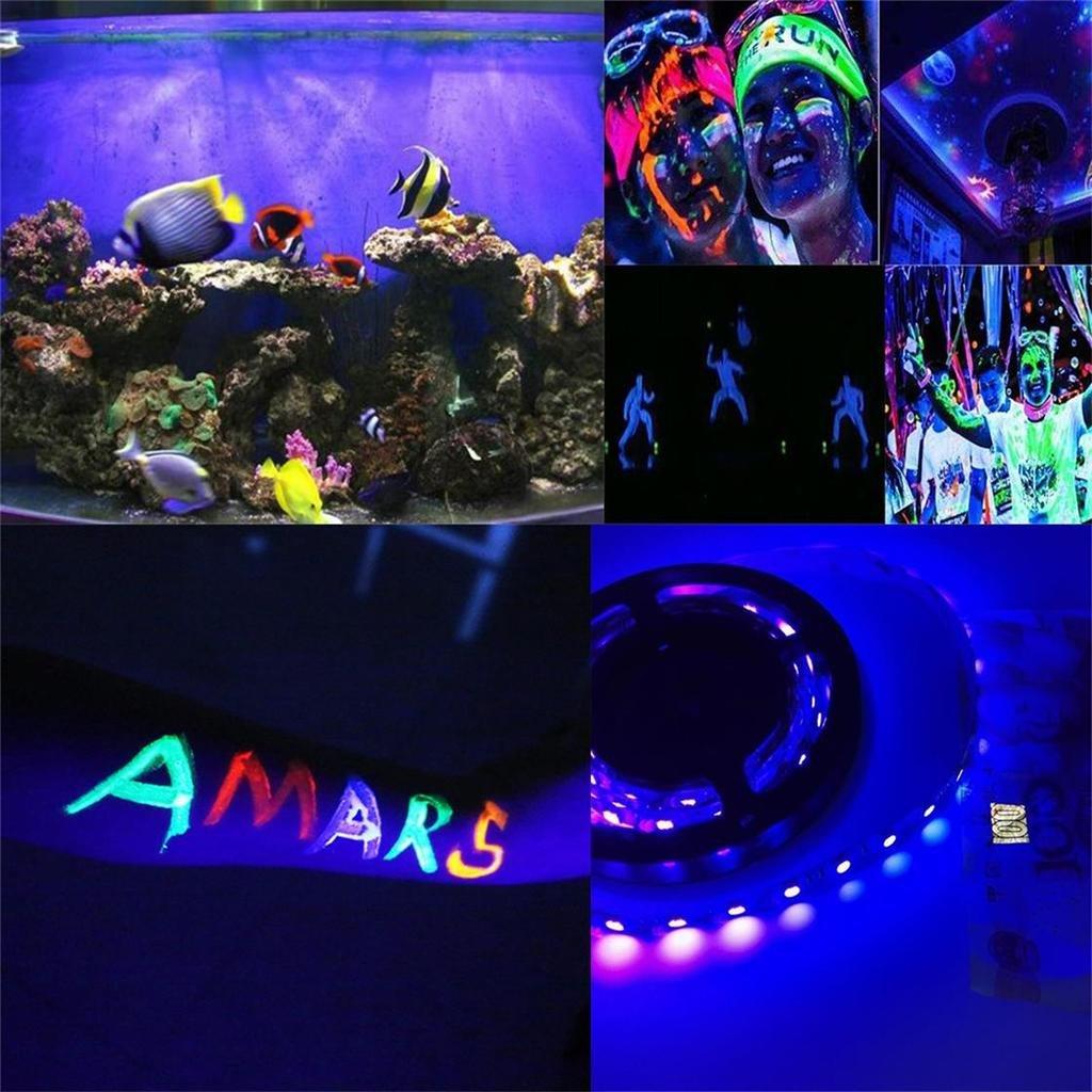 AMARS USB Operated UV Black Lights LED Strip 2M/6 6ft 5050 SMD 395nm