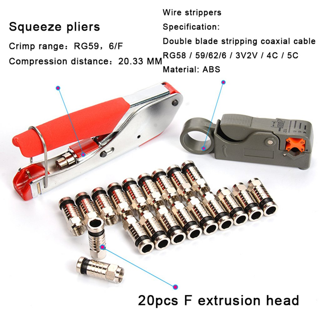 Coaxial Cable Crimper Cable Coaxial Separador de alambre RG6 RG59 Compresión F Conectores Herramienta Alicates de prensar alambre de pelar Alicates Kit: ...