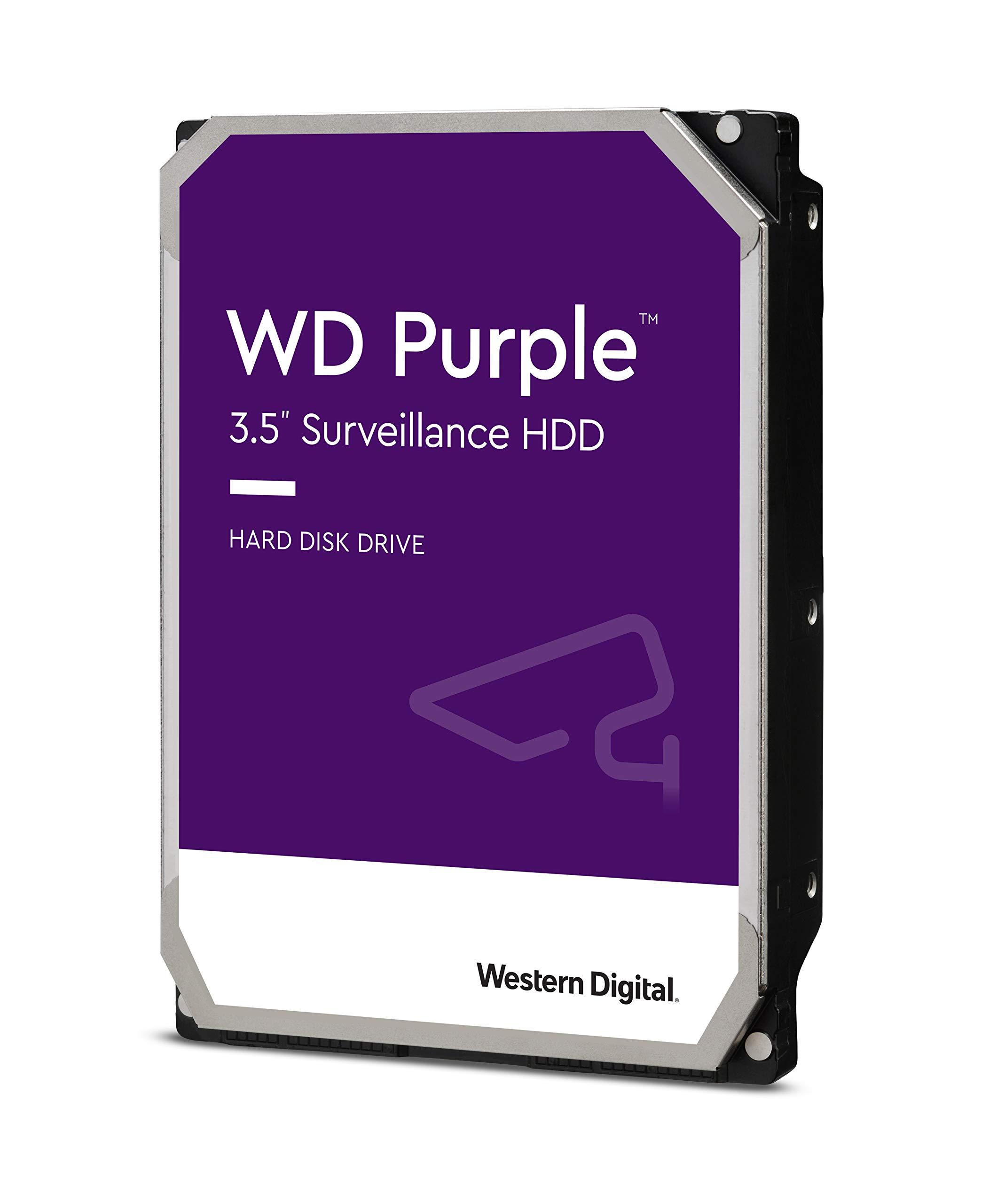 Western Digital Purple 1TB Surveillance 3.5 Inch SATA 6 Gb/s Hard Disk Drive with Allframe 4K Technology - 180TB/yr, 64MB Cache, 5400rpm - WD10PURZ