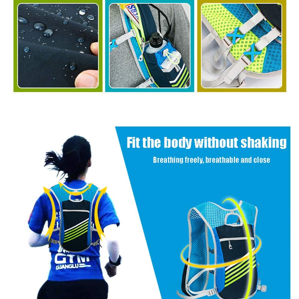 TZZ Sports Water Bag Backpack 5.5L 6 Pocket Running Hiking Backpack Trail Marathon Sports Racing Lightweight Hydrating Vest by TZZ (Image #3)