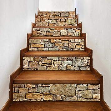 TZUTOGETHER pegatinas para escalones, Escalera de moqueta autoadhesiva, Calcomanías para escaleras 3D Cocina Piso Decoración,Impermeable Etiqueta de la pared extraíble (6pcs 100 * 18cm) (A): Amazon.es: Bricolaje y herramientas