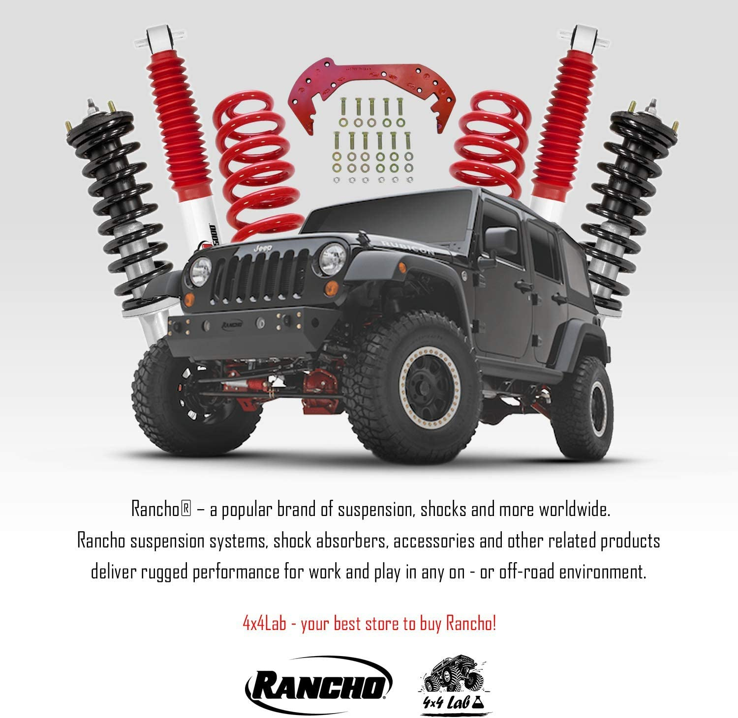Kit of 4 Rancho RS5000X Front/&Rear 0 inch lift Lift Shocks for Ford F-150 Lightning 2WD 1993-1995