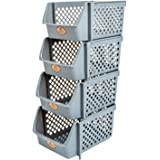 Titan Mall Stackable Storage Bins for Food, Snacks, Bottles, Toys, Toiletries, Plastic Storage Baskets Set of 4, 15x10x7 Inch