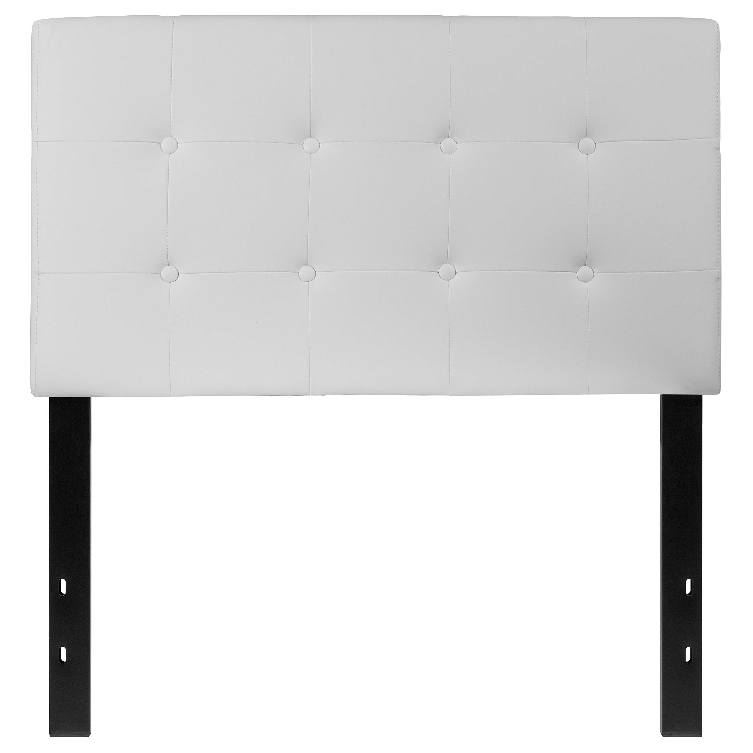 Flash Furniture Lennox Tufted Upholstered Twin Size Headboard in White Vinyl by Flash Furniture