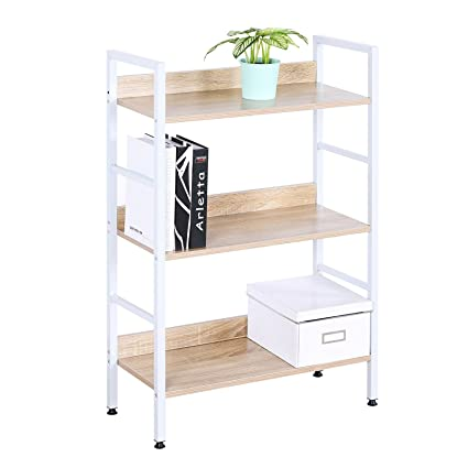 WOLTU White Bookshelf Wood Beautiful Bookcase Small Corner Office And Home Use 3 Tiers Standing