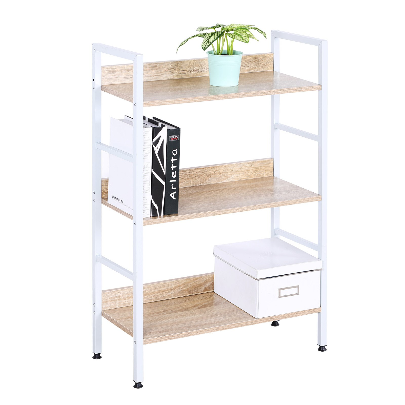 WOLTU White Bookshelf Wood Beautiful Bookcase Small Corner Office and Home Use 3 Tiers Bookcase Standing Shelves