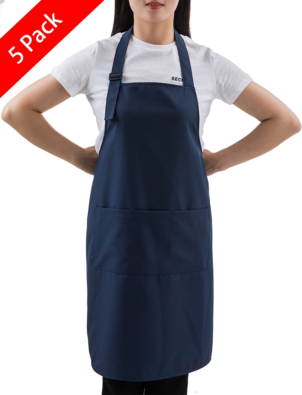 SEW UR LIFE (5 Set Navy Professional Resist Water Adjustable Extra Long Bib Apron 3 Pockets Home Kitchen Garden Restaurant Cafe Bar Pub Bakery for Cooking Chef Baker Servers Craft Unisex