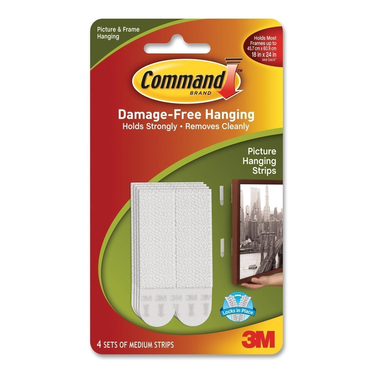 2 X Command Medium Picture Hanging Strips, 17201 4pk (1 Pack of 4 Sets) 3M/COMMERCIAL TAPE DIV.