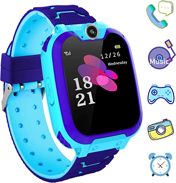 Kids Games Smartwatch Phone - 1.44 HD Touch Screen Boys Girls Watch with MP3 Player 2 Way Call Camera Clock Voice-Record Calculator for Students ...