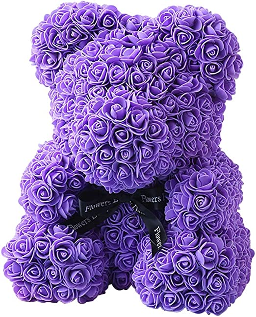 Wedding Present Sizet Rose Bear in Box Rose Teddy Bear 10 Inches Artificial Flower Teddy Hand Made