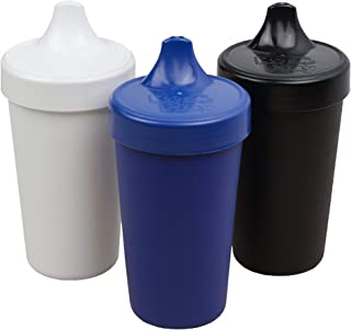 product image for Re-Play Made in USA 3pk No Spill Sippy Cups for Baby, Toddler, and Child Feeding in Navy, White and Black   Made from Eco Friendly Heavyweight Recycled Milk Jugs - Virtually Indestructible (Droid)