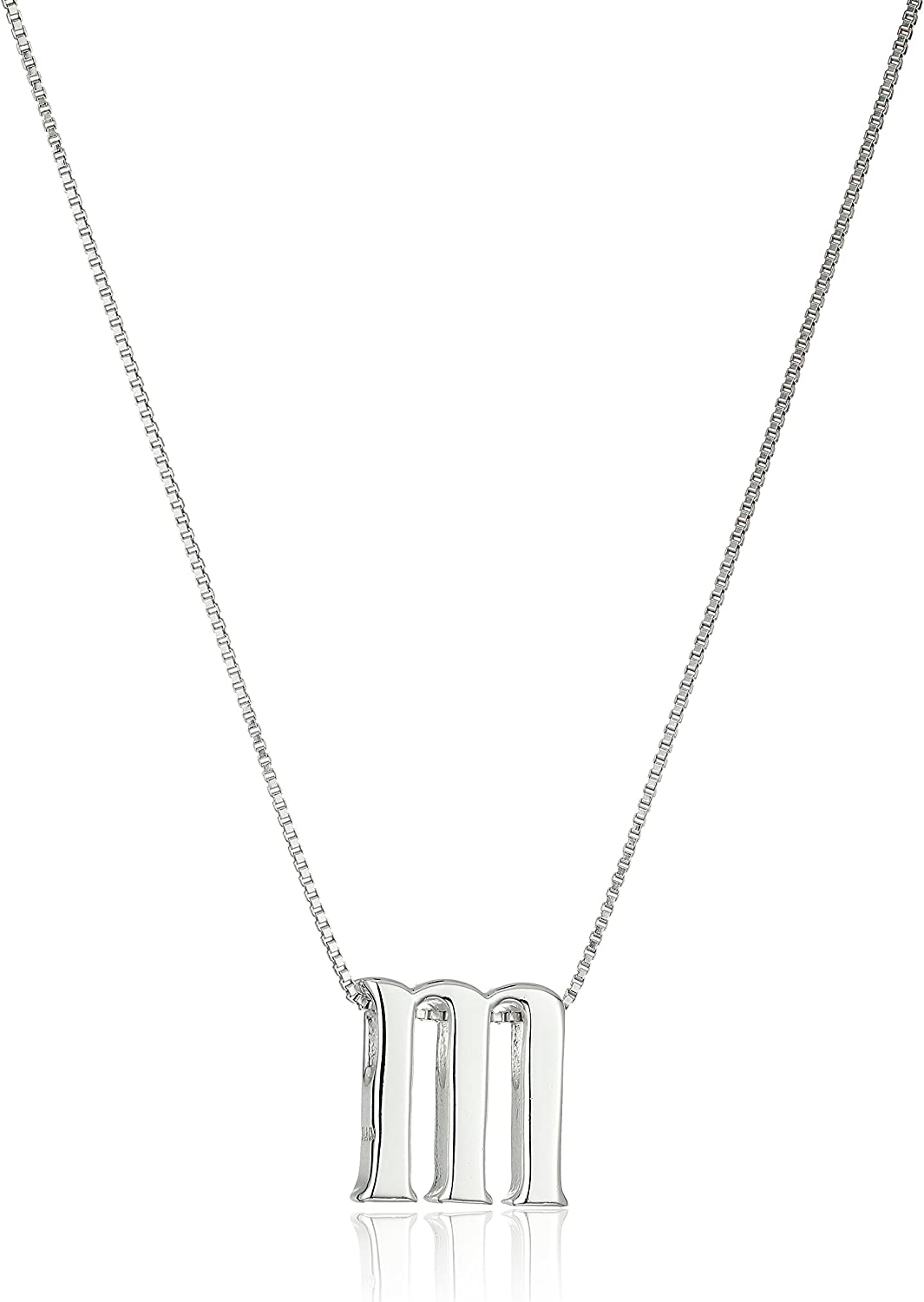 Amazon Collection Amazon Essentials Sterling Silver Slide Initial Pendant Necklace, 18""