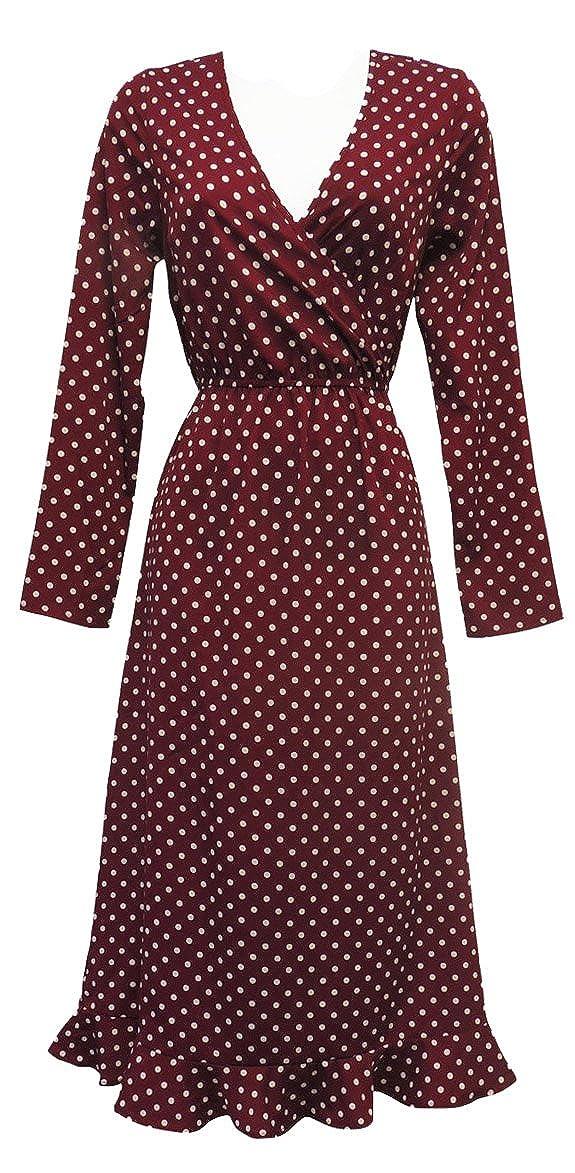 e855cc0f8ee9ae Viva-la-Rosa New Ladies Retro WW2 Wartime 1940's Style Wine Polka Dot  Ruffle Back Tea Dress: Rosa Rosa: Amazon.co.uk: Clothing