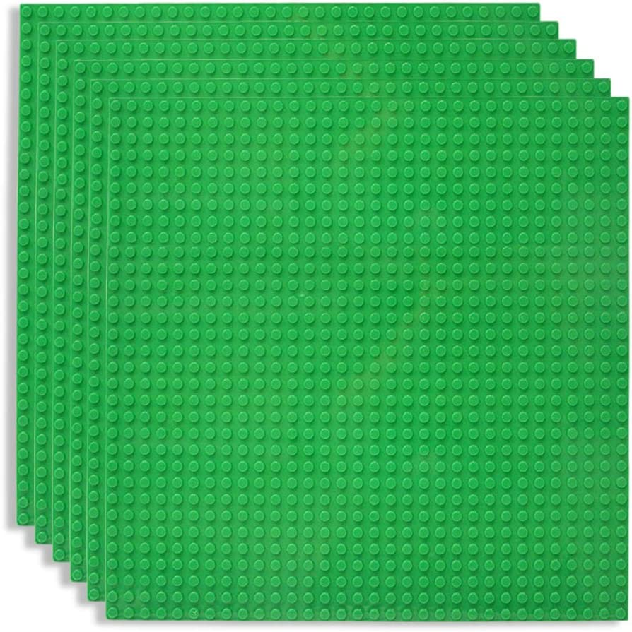 """Lekebaby Classic Baseplates Building Base for Building Bricks 100% Compatible with Major Brands-Baseplate 10"""" x 10"""", Pack of 6, Green"""