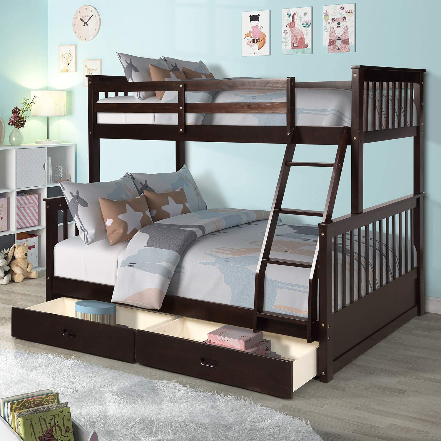 Amazon Com Merax Twin Over Full Bunk Bed Solid Wood Bunk Bed With Removable Ladders And Two Storage Drawers Espresso Kitchen Dining