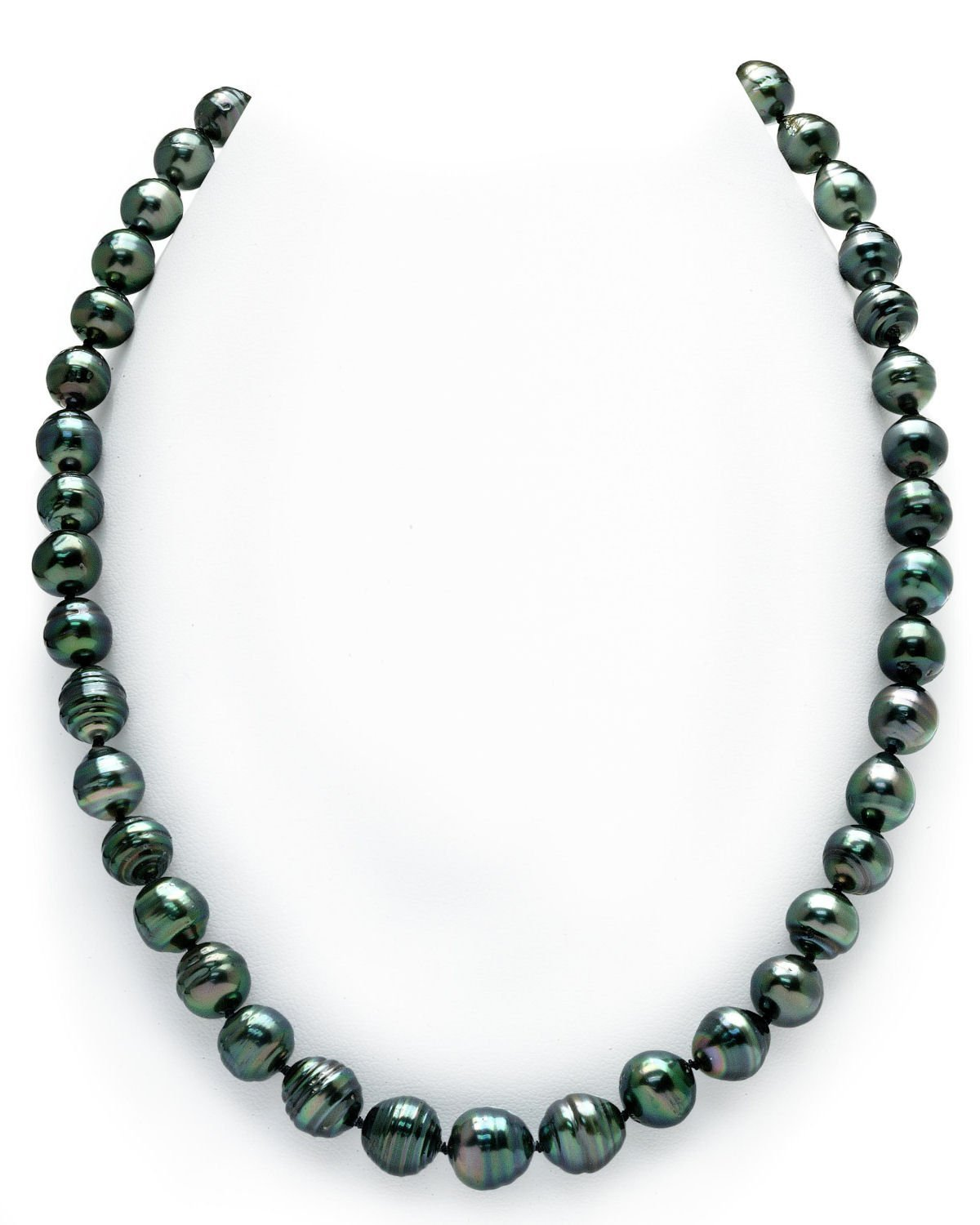 14K Gold 8-10mm Dark Tahitian South Sea Baroque Cultured Pearl Necklace - AAA Quality, 18'' Length