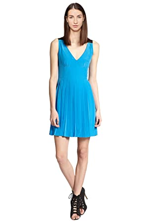 979ae44b07e6 Image Unavailable. Image not available for. Color: Marc by Marc Jacobs  Frances Silk Pleated V-Neck Cocktail Day Dress