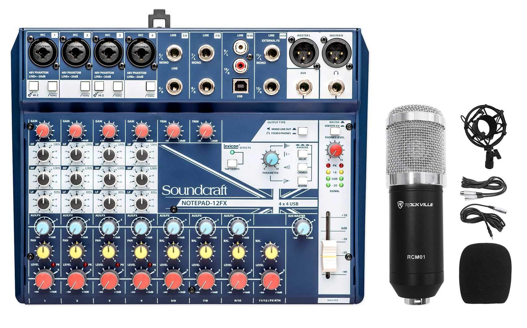 Soundcraft Notepad-12FX 12-Channel Mixer w/USB I/O+Effects+Studio Mic+Shockmount