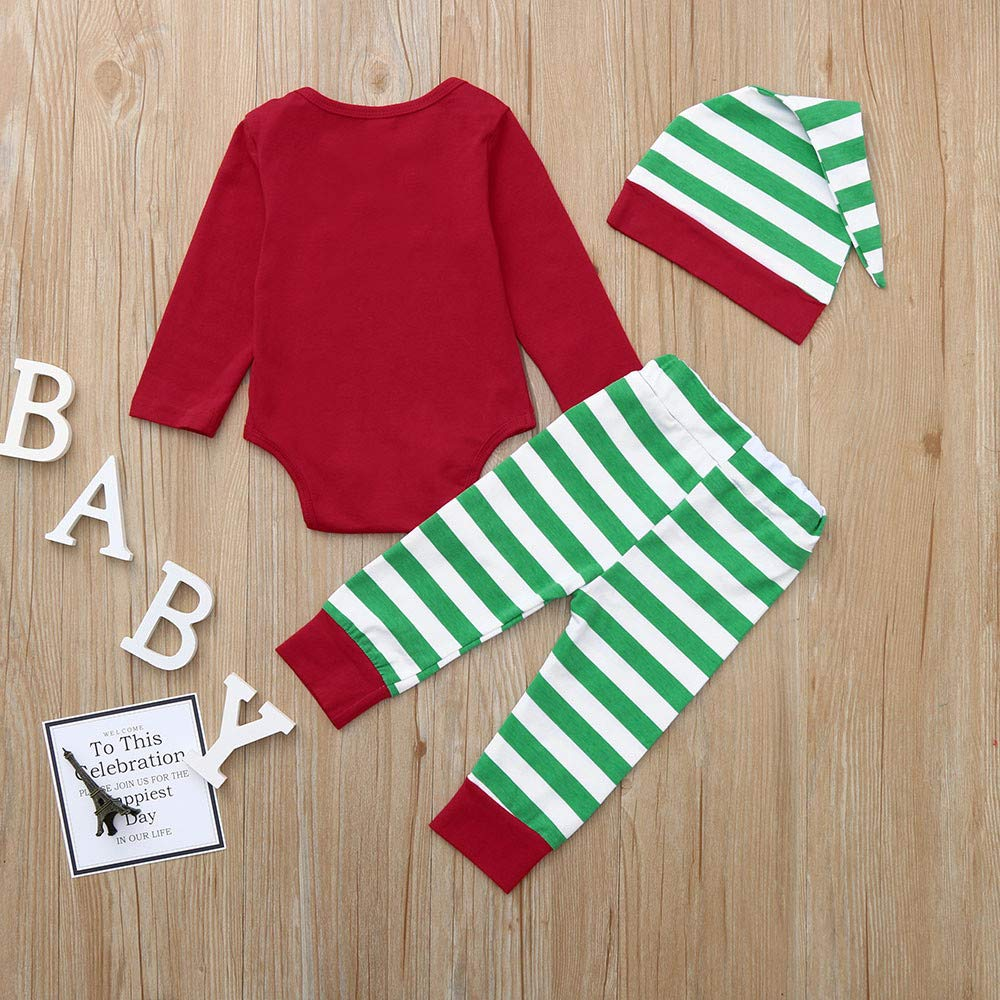faf266bf65a4 Cyhulu My 1st Christmas 3Pcs Baby Clothes, Fashion Snowflake Print Romper  Top+Striped Pants+Hat Xmas Family Home Pajamas Outfits for Baby 0-18Months  (Red, ...