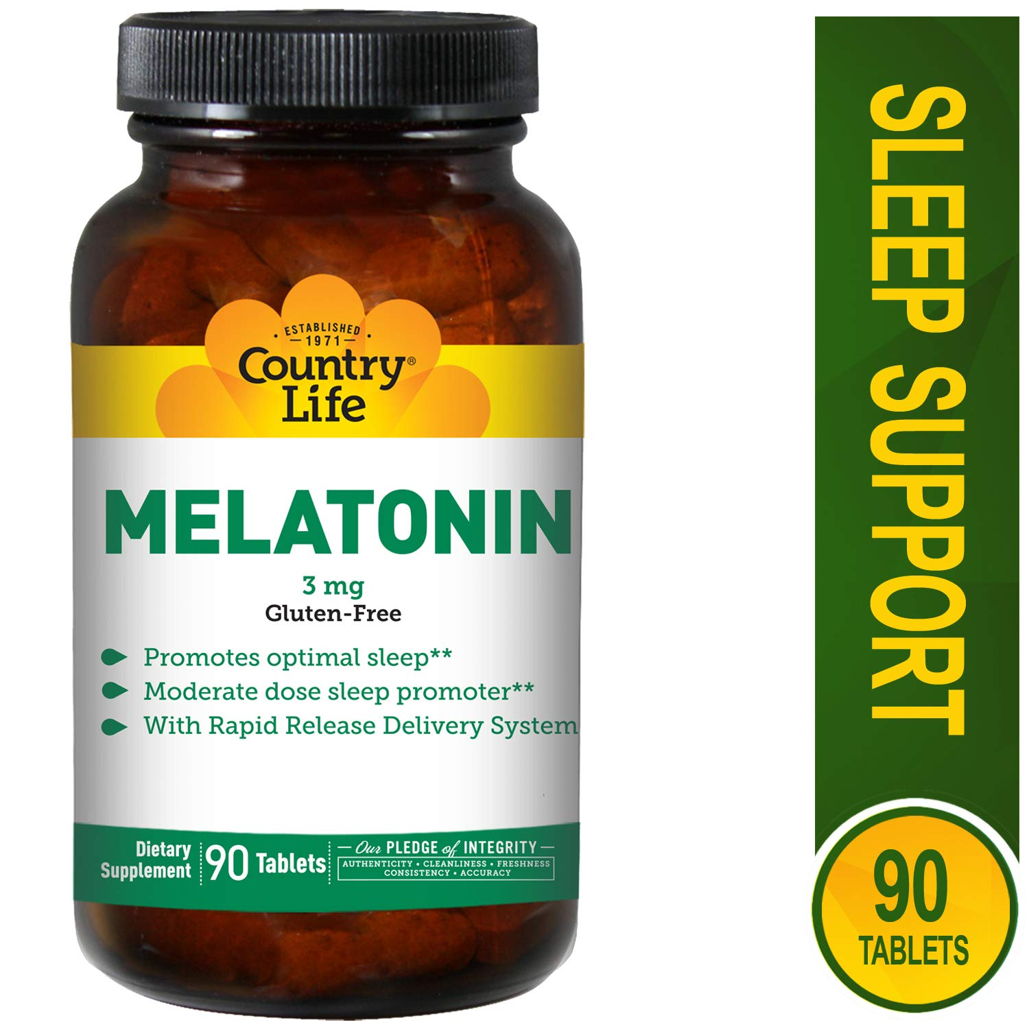 Country Life Melatonin Rapid Release, 3 mg - 90 Tablets