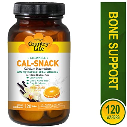 Country Life Cal-Snack Chewable Calcium With Magnesium 1000mg:500mg:50 I.U.Vitamin