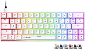 Gamenote 60% Mechanical Keyboard 64 Keys RGB Gaming Keyboard Compact Waterproof Type-C Wired Progammable Compact Keyboards Hot Swappable Gateron Brown Switch for PC/Mac/Win (White)