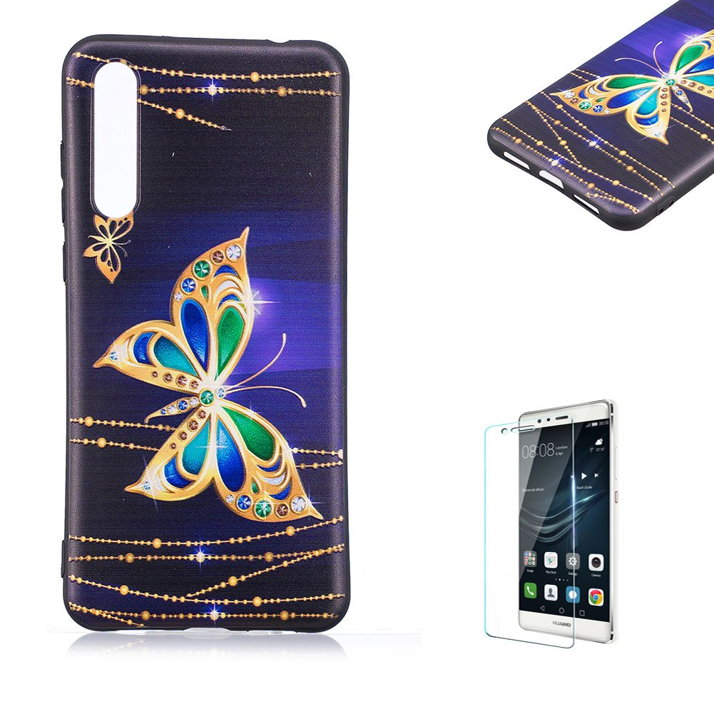 Funyye Relief Rubber Case for Huawei P20,Stylish Gold Butterfly Pattern Soft Silicone TPU Gel Cover for Huawei P20,Slim Fit Shockproof Non Slip Back Cover Smart Shell Protective Case for Huawei P20 + 1 x Free Screen Protector FUNYYE0041350