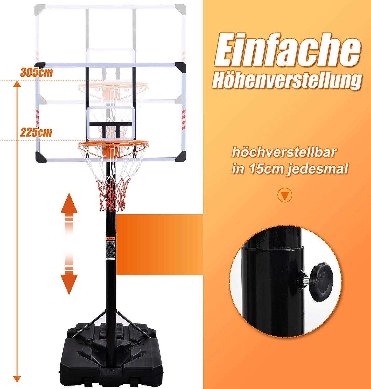 Verstellbarer Basketballkorb mit Rollen h?henverstellbare Korbanlage von 225 bis 305 cm belupai Basketballst?nder Standfu? mit Wasser//Sand bef/üllbar Outdoor//Indoor f/ür Erwachsene//Kinder