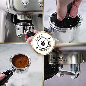 Siebträgermaschine mit integriertem Mahlwerk Breville VCF126X Barista Max